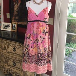 Kay Unger 100% Silk Sundress Pink 8 GUC!